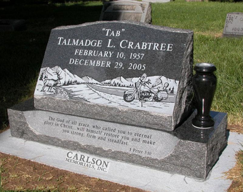 S152: Flash Black Slant Headstones in Colorado for the Crabtree Family