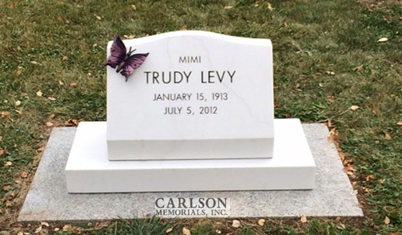S153: White Marble Custom Designed Slant Headstone for the Levy Family
