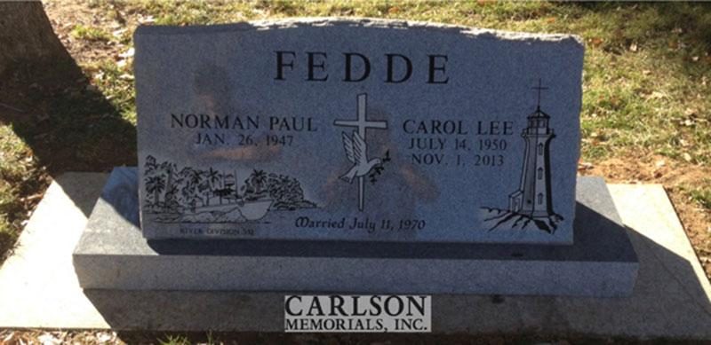 S157: Bluestone Custom Designed Slant Headstone for the Fedde Family