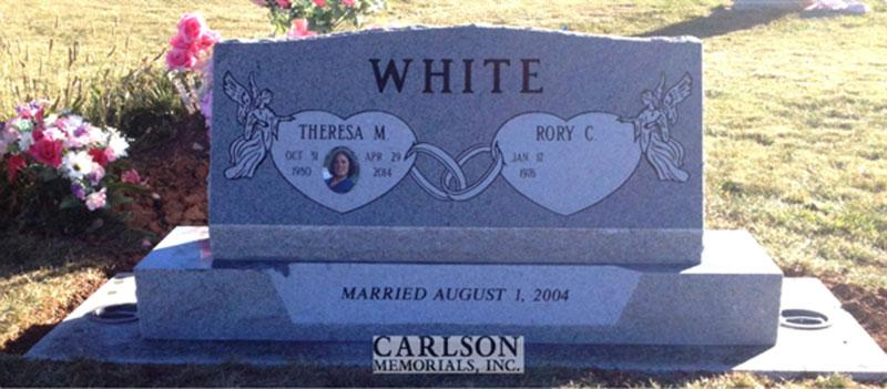 S158: Bluestone Custom Designed Slant Headstone for the White Family