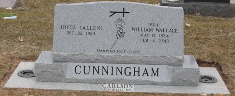 S160: Bluestone Custom Designed Slant Headstones in Colorado for the Cunningham Family