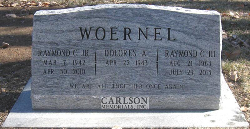 S161: Silver Cloud Custom Designed Slant Headstones in Colorado for the Woernel Family