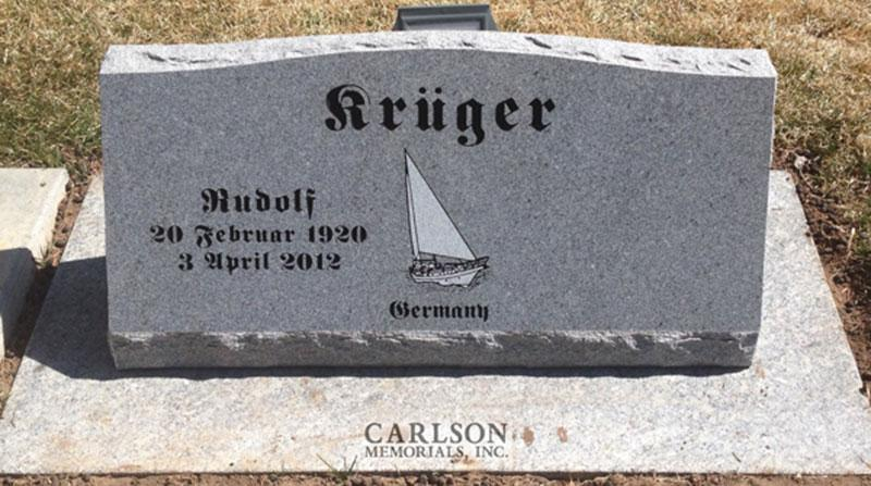 S162: Bluestone Custom Designed Slant Headstones in Colorado for the kruger Family