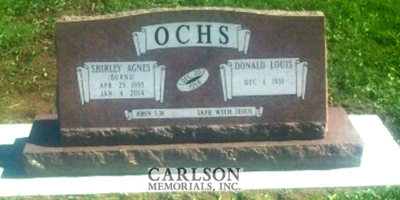 S163: Colorado Rose Custom Designed Slant Headstones for the Ochs Family