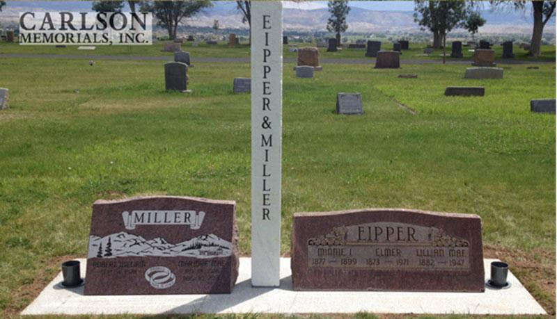 S164: Colorado Rose Red Custom Designed Slant Headstone for the Miller and Eipper Family