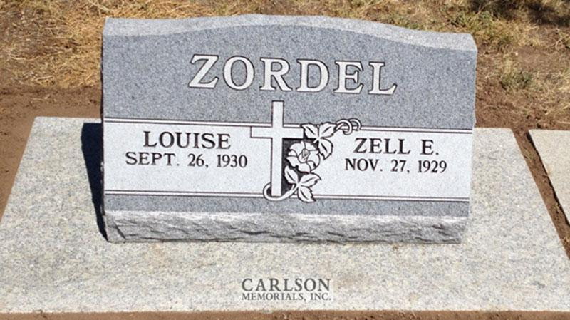 S165: Bluestone Custom Designed Slant Headstone for the Zordel Family
