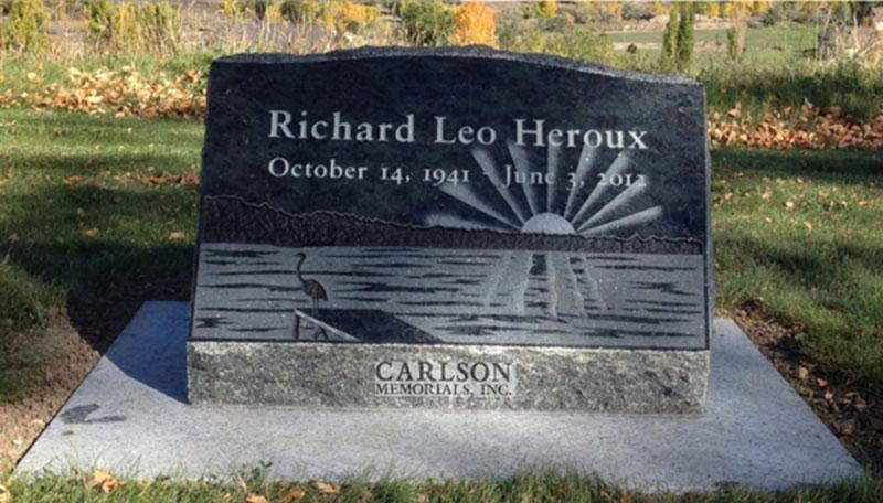 S170: Royal Emerald Custom Designed Slant Headstone for the Heroux Family