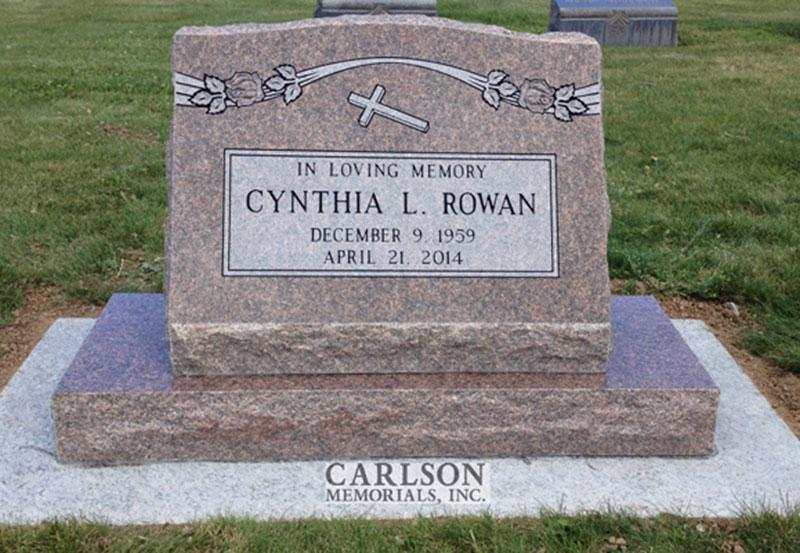 S172: Canyon Rose Custom Designed Slant Headstone for the Rowan Family