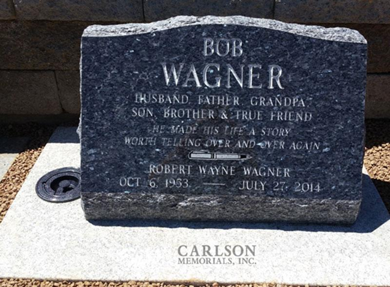S173: Blue Pearl Custom Designed Slant Headstone for the Wagner Family