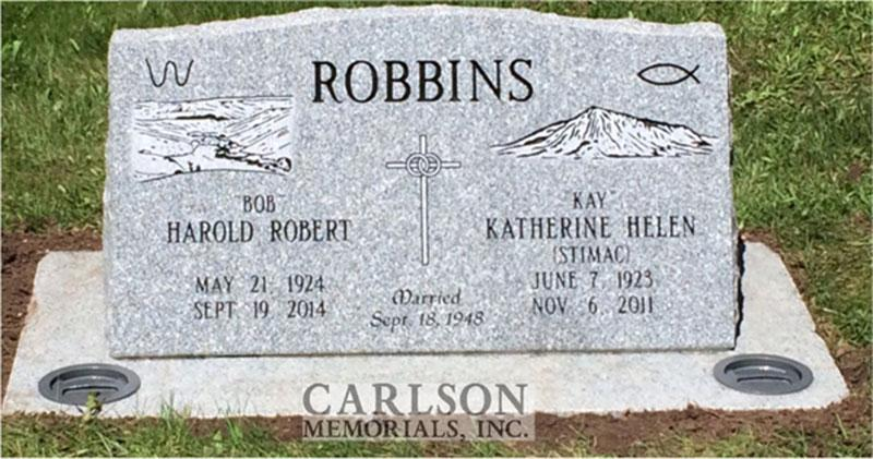 S173: Barre Custom Designed Slant Headstones in Colorado for the Robbins Family