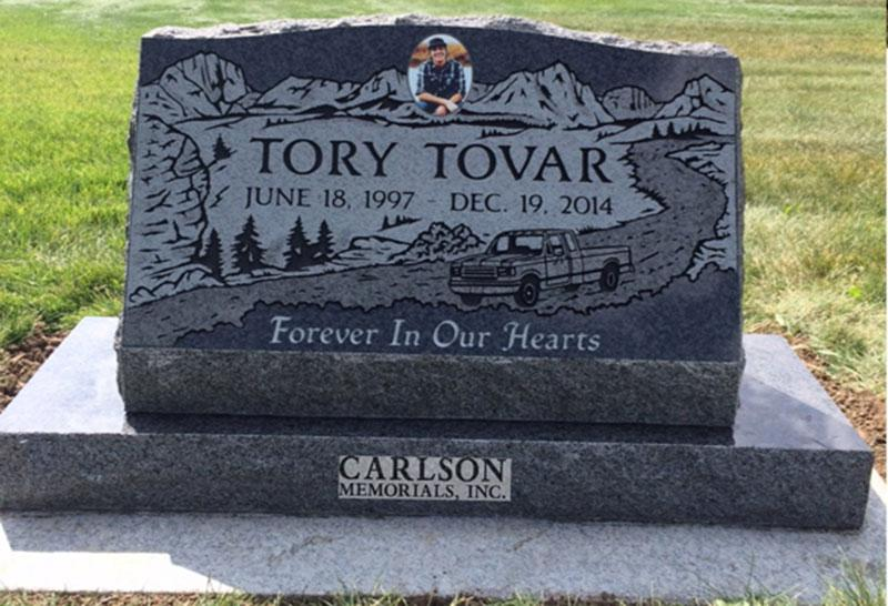S177: Academy Black Custom Designed Slant Headstone for the Tovar Family