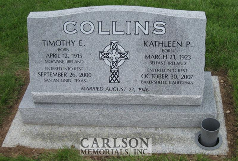S178: Bluestone Custom Designed Slant Headstones in Colorado for the Collins Family