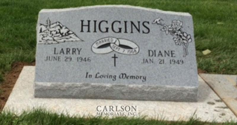 S179: Bluestone Custom Designed Slant Headstones in Colorado for the Higgins Family