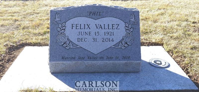S180: Bluestone Custom Designed Slant Headstone for the Valez Family