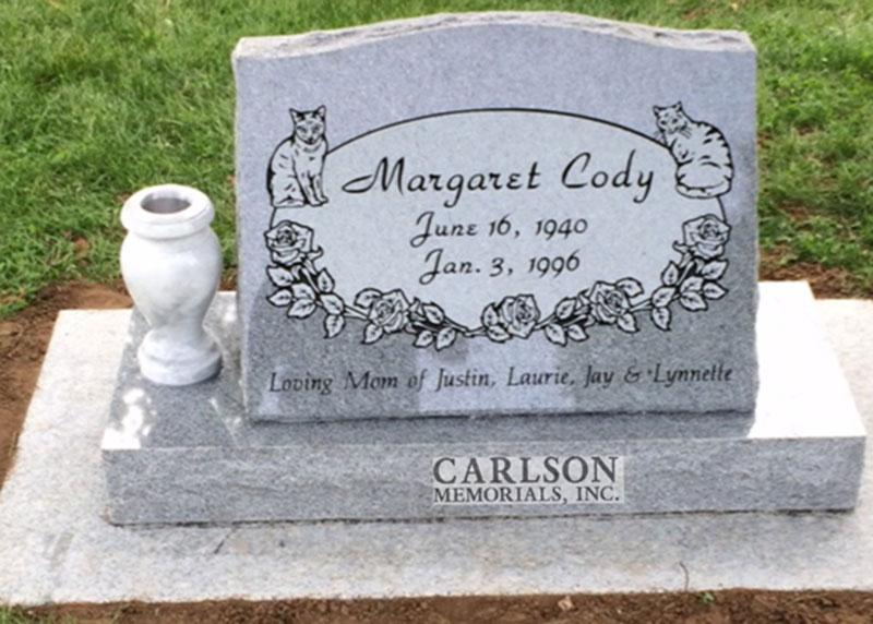 S181: Bluestone Custom Designed Slant Headstones for the Cody Family