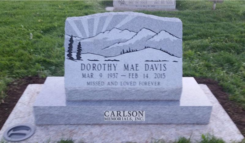 S182: Bluestone Custom Designed Slant Headstone for the Davis Family