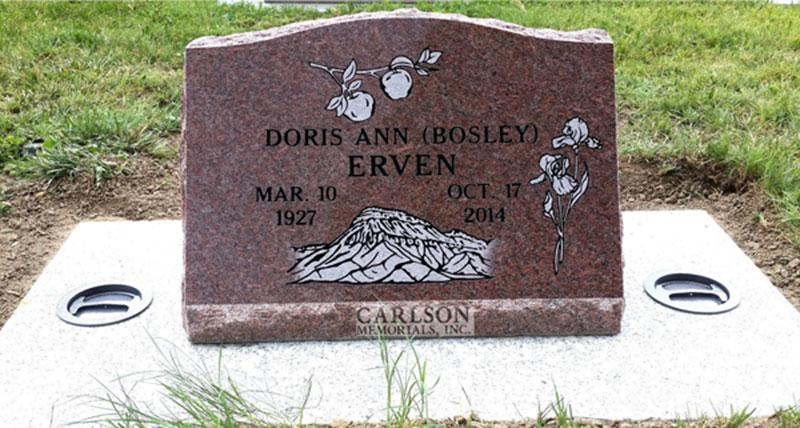 S183: Colorado Rose Red Custom Designed Slant Headstone for the Erven Family