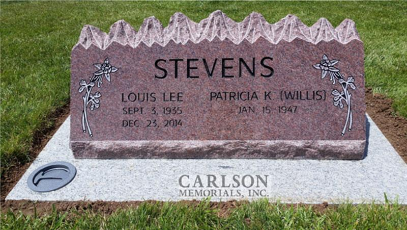 S184: Colorado Rose Red Custom Designed Slant Headstone for the Stevens Family