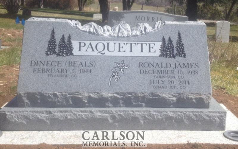 S186: Bluestone Custom Designed Slant Headstones for the Paquette Family