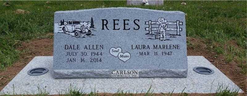 S187: Bluestone Custom Designed Slant Headstones in Colorado for the Rees Family