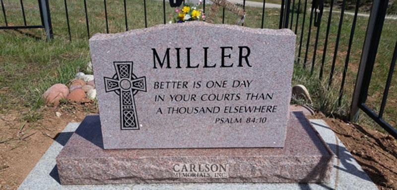 S189A: Back of Morning Rose Custom Designed Slant Headstone for the Miller Family