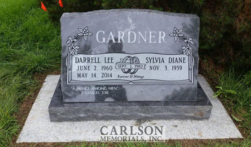 S190: Jet Mist Custom Designed Slant Headstone for the Gardner Family