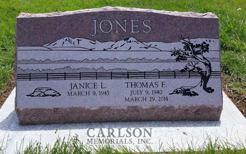 S191: Colorado Rose Red Custom Designed Slant Headstone for the Jones Family