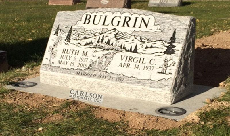S192: Silver Cloud Custom Designed Slant Headstones in Colorado for the Bulgrin Family