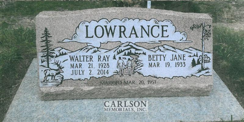 S193: Morning Rose Custom Designed Slant Headstone for the Lowrance Family