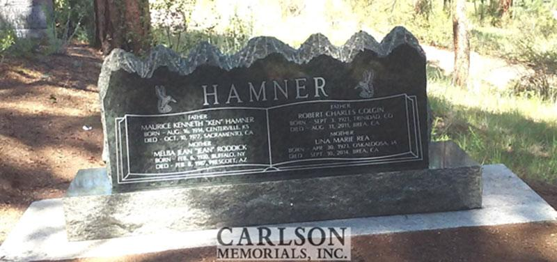S194A: Back of Royal Emerald Custom Designed Slant Headstones for the Hamner Family
