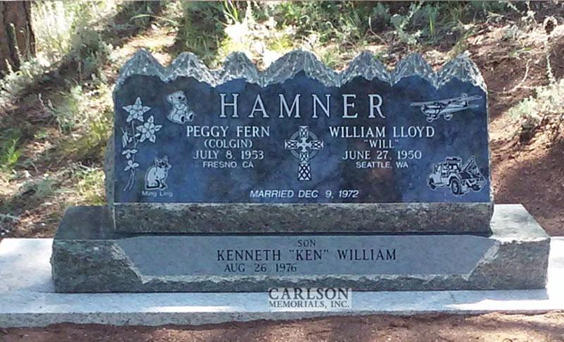 S194: Royal Emerald Custom Designed Slant Headstones in Colorado for the Hamner Family