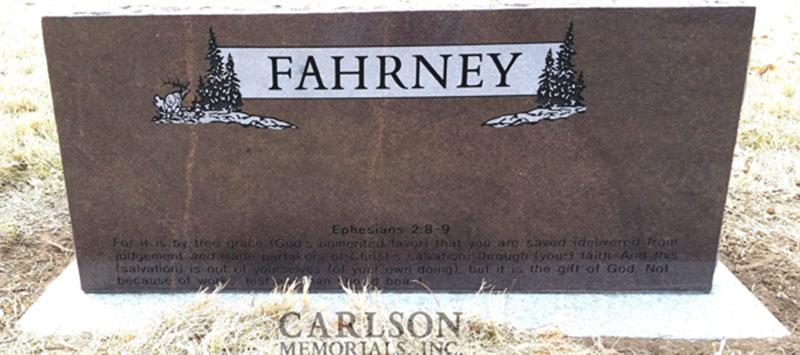 S195A: Back of Autumn Brown Custom Designed Slant Headstones in Colorado for the Fahrney Family
