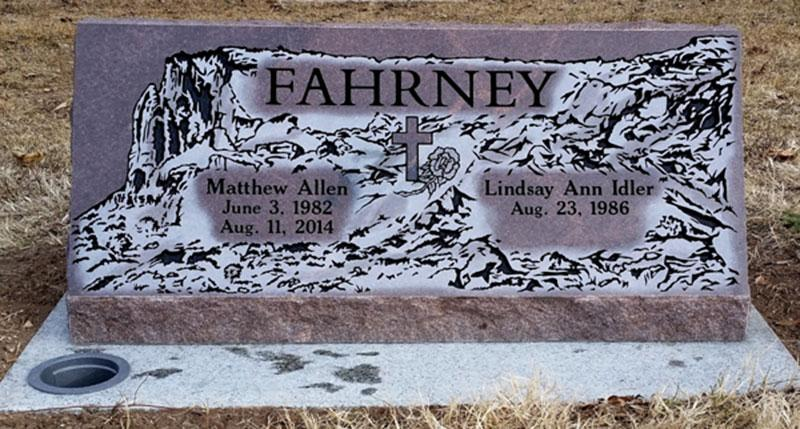 S195: Autumn Brown Custom Designed Slant Headstones in Colorado for the Fahrney Family
