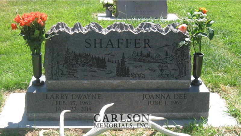 S196: Mahogany Honed Finish Custom Designed Slant Headstones for the Shaffer Family
