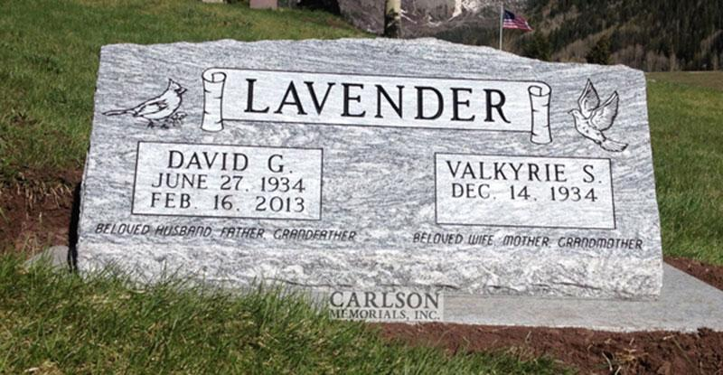 S197: Silver Cloud Custom Designed Slant Headstones for the Lavender Family