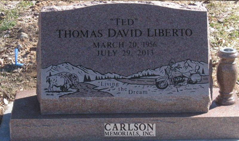 S198: Morning Rose Custom Designed Slant Headstones in Colorado for the Liberto Family