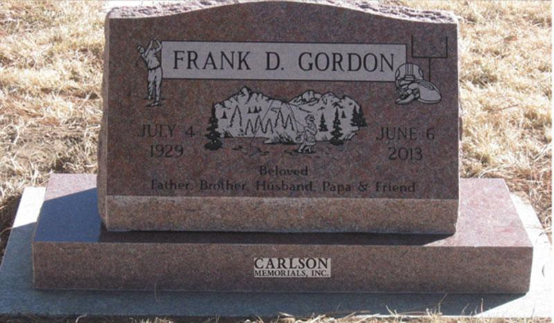 S199: Colorado Rose Red Custom Designed Slant Headstones for the Gordon Family