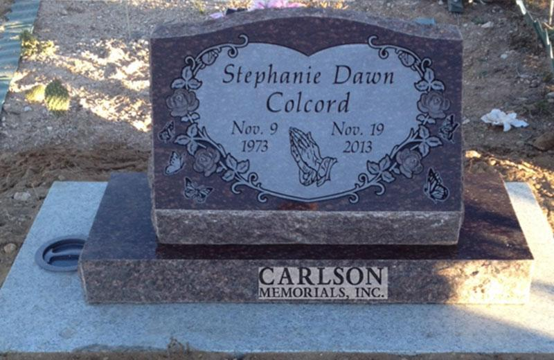 S201: Cats Eye Custom Designed Slant Headstone for the Colcord Family