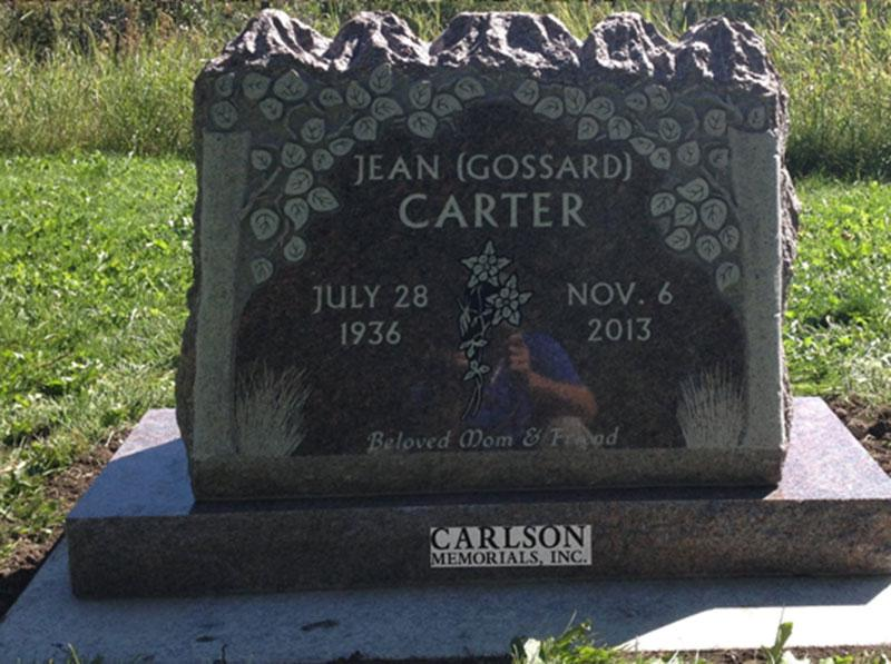S202: Mahogany Custom Designed Slant Headstone for the Carter Family