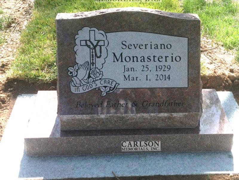 S203: Colorado Rose Red Custom Designed Slant Headstone for the Monasterio Family