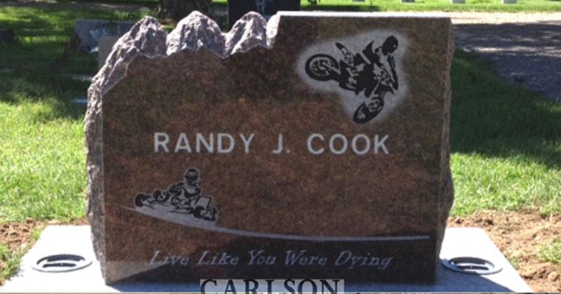 S205A: Back of Rustic Mahogany Custom Designed Slant Headstones in Colorado for the Cook Family