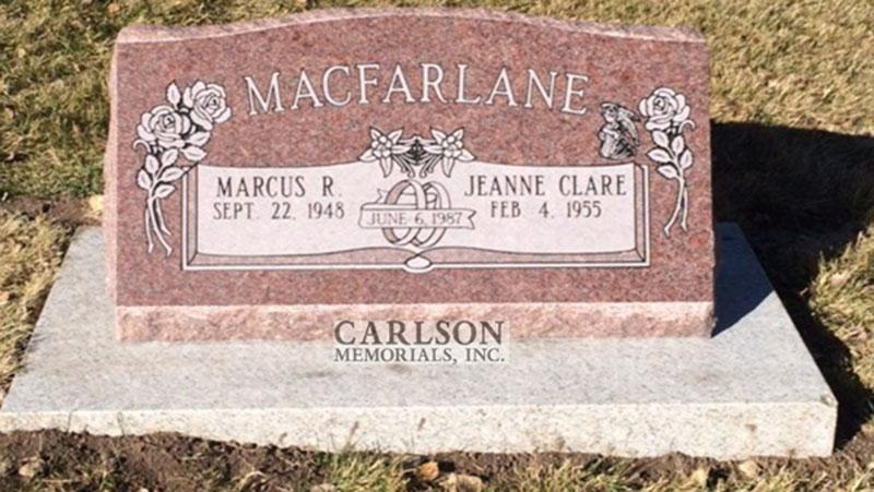 S206: Colorado Rose Red Custom Designed Slant Headstone for the Macfarlane Family