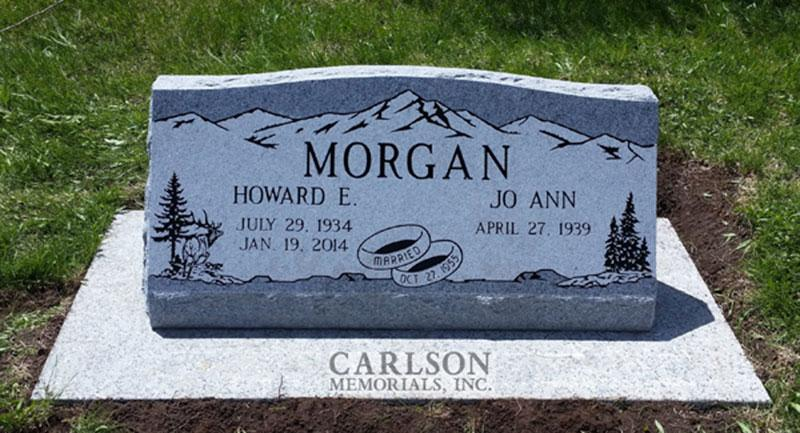 S207: Bluestone Custom Designed Slant Headstone for the Morgan Family