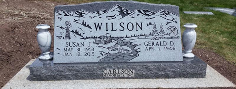 S208: St. Cloud Gray Custom Designed Slant Headstones in Colorado for the Wilson Family
