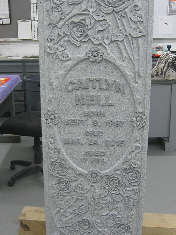custom engraved headstone for the Nell family