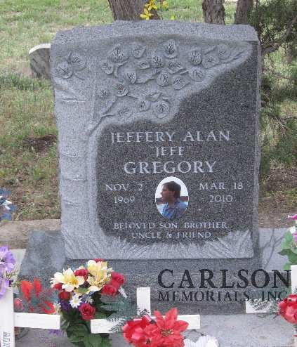TS005: St. Cloud Gray Custom Designed Tablet Headstones for the Gregory family