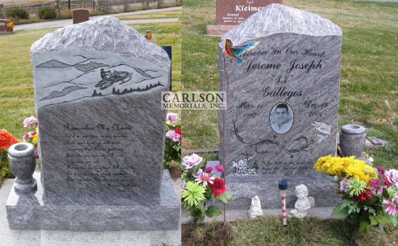 TS006: Silver Cloud Custom Designed Tablet Headstone for the Gallegos family