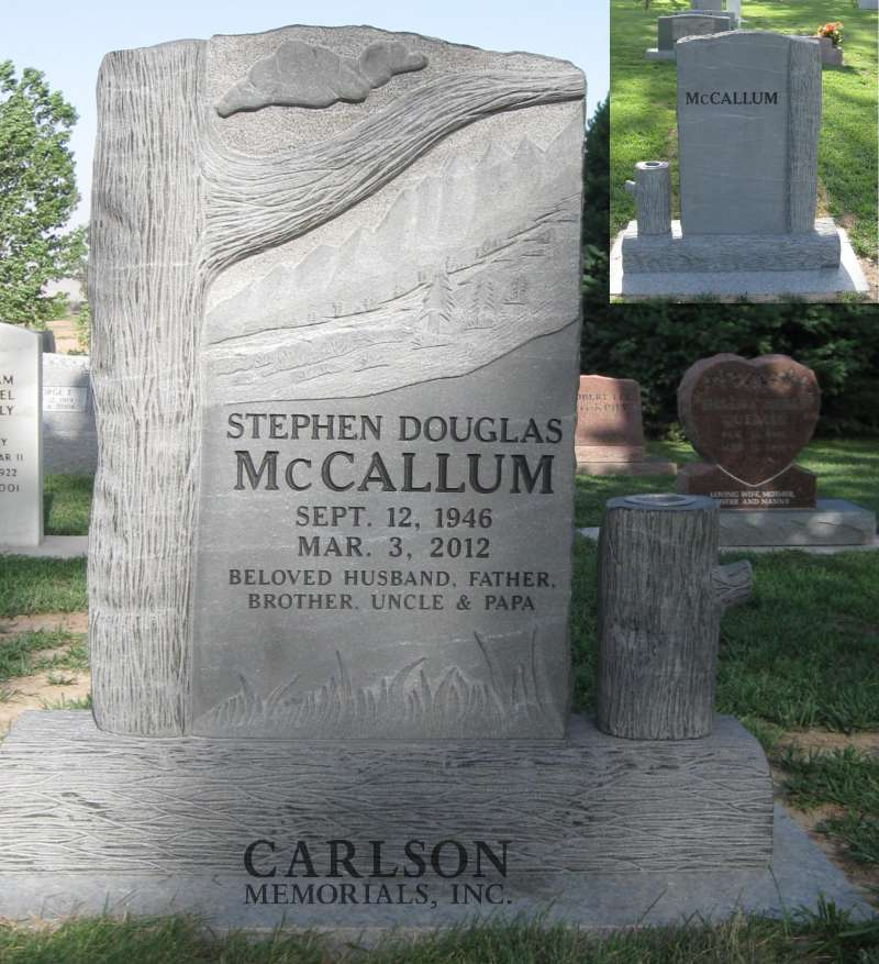 TS021: French Creek Unpolished Custom Designed Tablet Headstone for the McCallum family