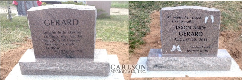 TS032: Colonial Rose Custom Designed Tablet Headstones for the Gerard family