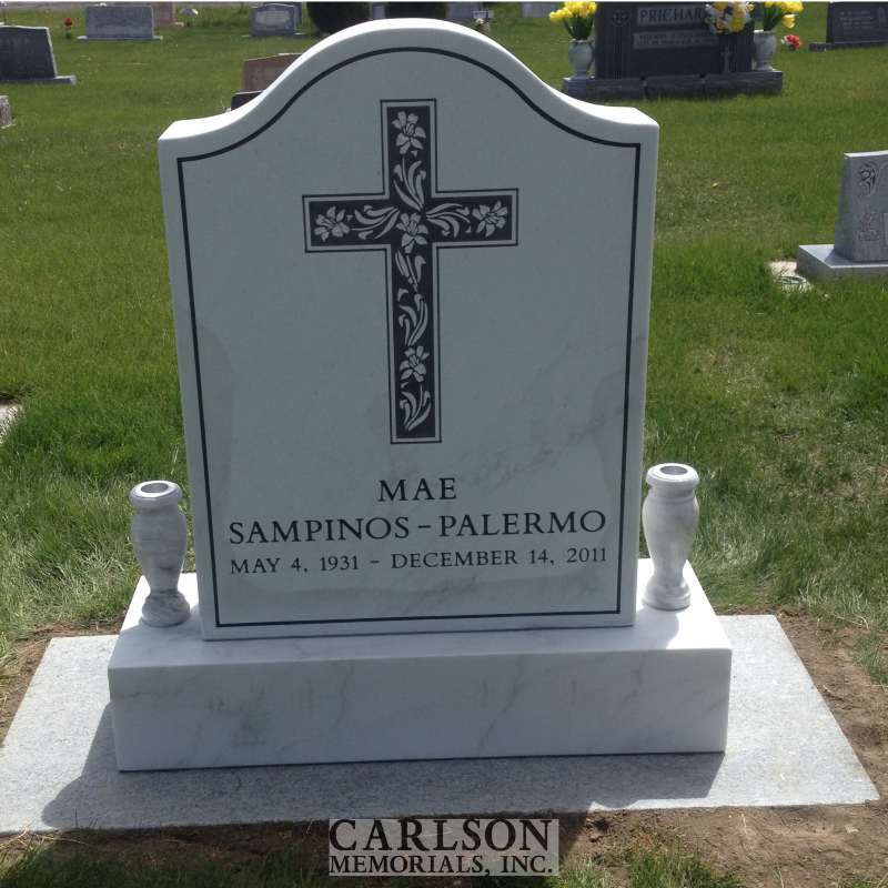 TS034: Colo Yule Marble Custom Designed Tablet Headstones for the Palermo family